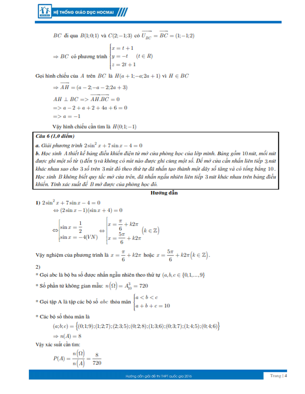 Kỳ thi THPT quốc gia 2016: Gợi ý giải đề thi môn toán  - ảnh 4