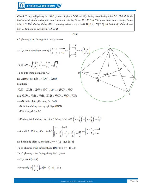 Kỳ thi THPT quốc gia 2016: Gợi ý giải đề thi môn toán  - ảnh 6