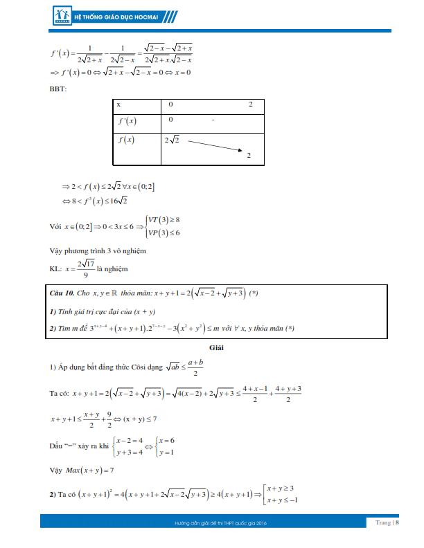 Kỳ thi THPT quốc gia 2016: Gợi ý giải đề thi môn toán  - ảnh 8