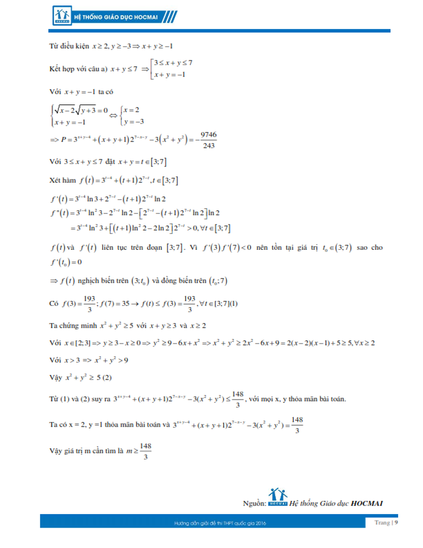 Kỳ thi THPT quốc gia 2016: Gợi ý giải đề thi môn toán  - ảnh 9