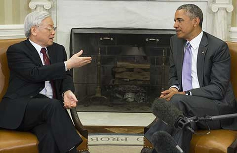 Tổng Bí thư Nguyễn Phú Trọng hội đàm với Tổng thống Obama  - ảnh 1