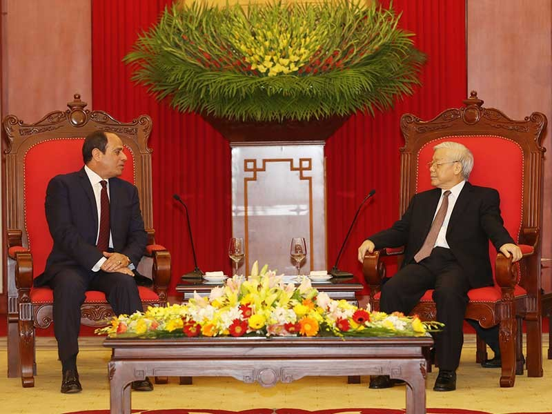 Tổng Bí thư Nguyễn Phú Trọng tiếp Tổng thống Ai Cập - ảnh 1
