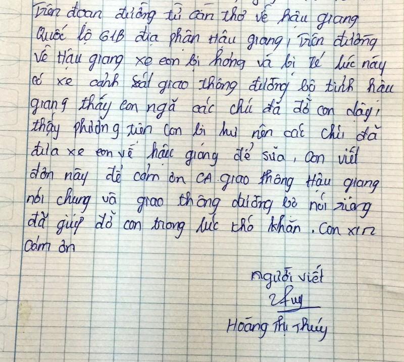 Cô gái viết thư cảm ơn CSGT đã tận tình giúp đỡ  - ảnh 1