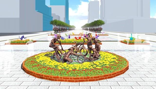 Đưa điêu khắc vào đường hoa Nguyễn Huệ tết Bính Thân  - ảnh 1