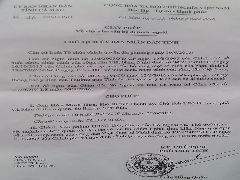 Giấy phép do Phó chủ tịch tỉnh Cà Mau ký cho ông Hữu đi nước ngoài.