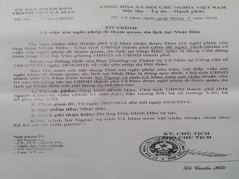 TP Cà Mau đưa ra giấy phép đi nước ngoài của chủ tịch  - ảnh 3