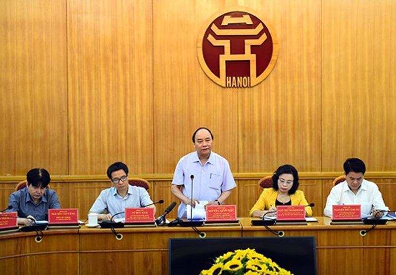 Thủ tướng Nguyễn Xuân Phúc làm việc với Hà Nội về công tác ATTP vào sáng ngày 27-9