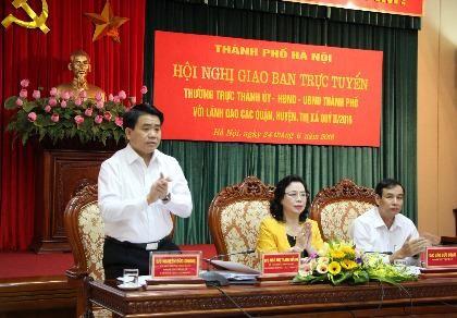 Chủ tịch UBND TP Hà Nội Nguyễn Đức Chung phát biểu tại hội nghị. Ảnh: Trọng Phú.