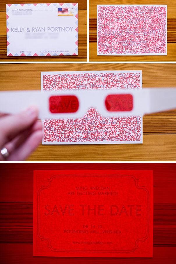Hoặc 1 dạng thiệp cưới phải nhờ đến kính 3D để đọc thông điệp trên đó.