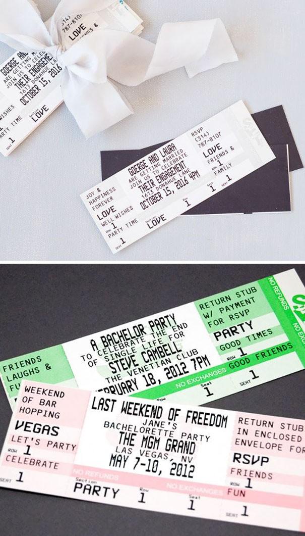 Hay một chiếc vé xem phim có ngày tháng và địa điểm tổ chức hôn lễ.