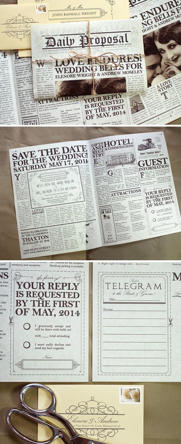 Một tấm thiệp cưới mô phỏng một tờ báo.