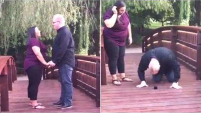 Đang cầu hôn, bỗng rớt nhẫn 4.000 USD xuống hồ - ảnh 1