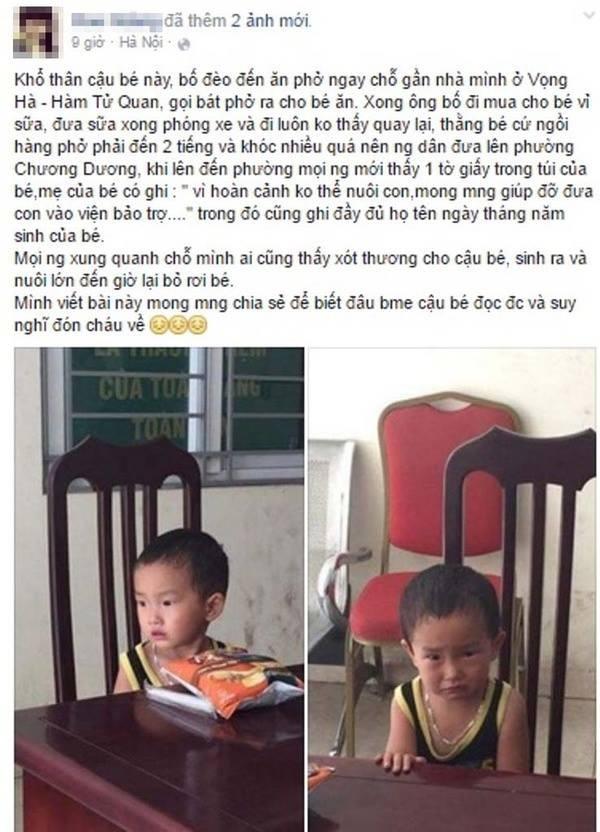Bé trai 2 tuổi bị bỏ rơi ở quán bún - ảnh 1