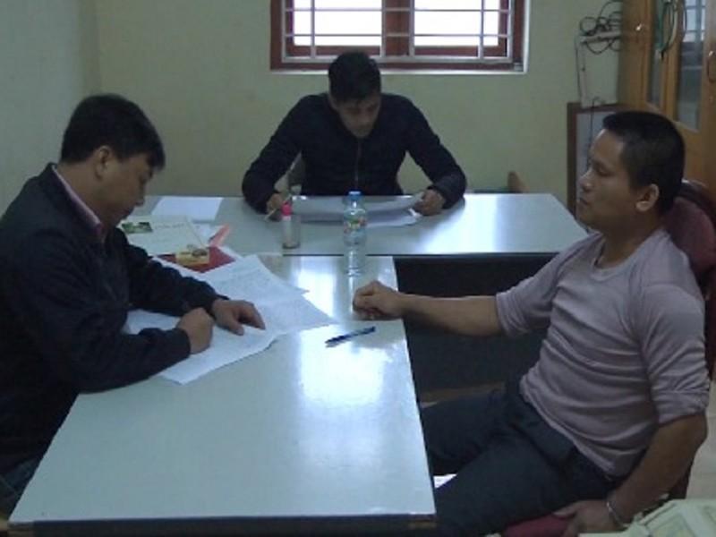 Bùi Kim Hiền tại cơ quan công an. Ảnh: hungyentv.vn