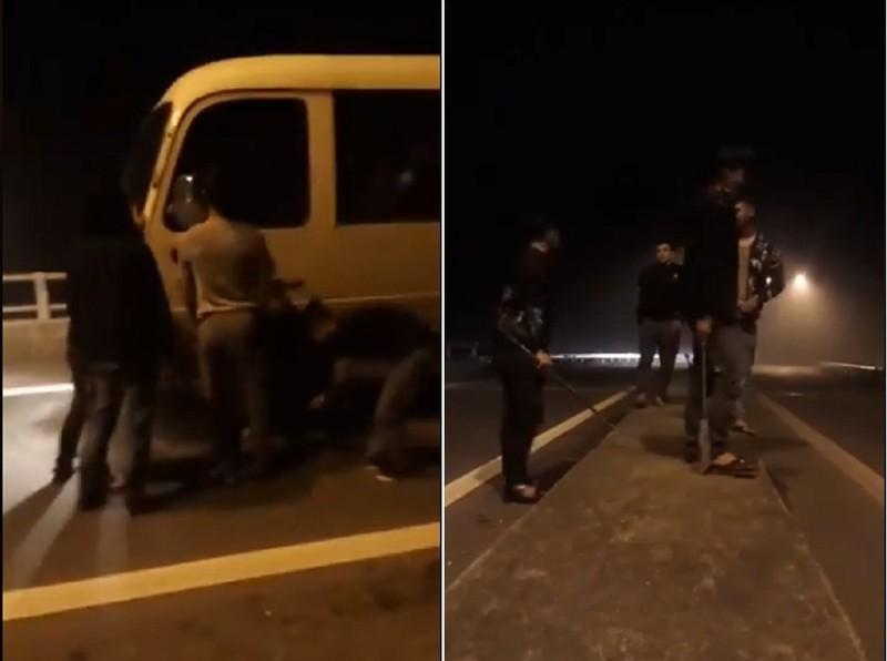 Hàng chục thanh niên cầm dao, chặn xe ô tô trên quốc lộ - ảnh 1