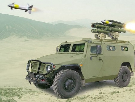 Tên lửa diệt tăng Cornet-D gắn trên xe bọc thép Tiger