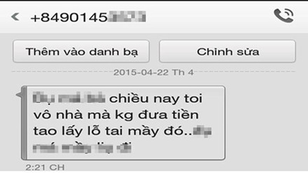 Tin nhắn đe dọa.