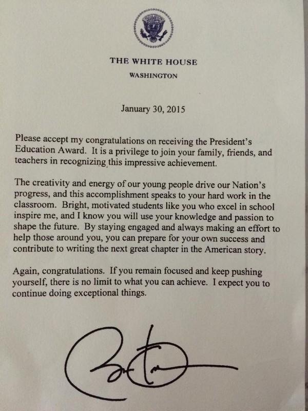 Bức thư từ Tổng thống Obama gửi cho Đỗ Nhật Nam.