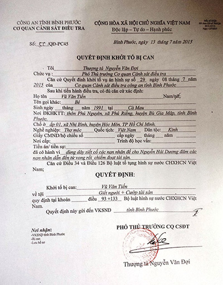 Thảm sát Bình Phước: VKS đã phê chuẩn quyết định khởi tố 2nghi can - ảnh 2