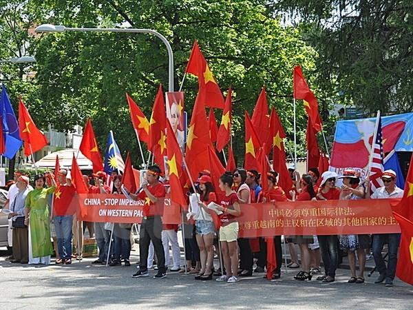 Người Việt tại Đức biểu tình phản đối Trung Quốc xây đảo trái phép - ảnh 2