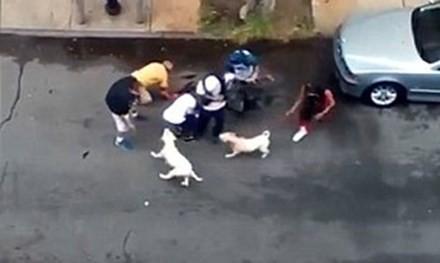 Người dân giải cứu hai người đàn ông khỏi những con chó dữ.