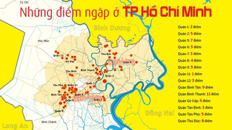 Bản đồ 66 điểm ngập ngoài đường phố ở TP.HCM - Đồ họa: Việt Anh