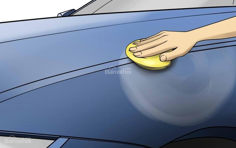 Hãy sử dụng miếng bôi dung dịch hoặc bọt biển để bôi đều dung dịch lên thân xe theo những đường vòng tròn