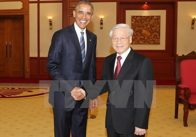 Tổng Bí thư Nguyễn Phú Trọng tiếp Tổng thống Hoa Kỳ Obama  - ảnh 1