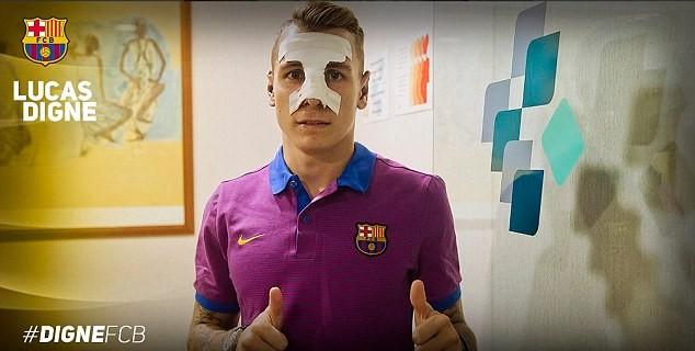 Lucas Digne ra mắt Barca với chiếc mũi gãy - ảnh 3